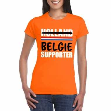 Goedkope holland supporter die overloopt naar belgie shirt oranje dam