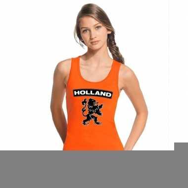 Goedkope holland zwarte leeuw topje/shirt oranje dames