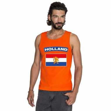 Goedkope hollandse vlag mouwloos shirt oranje heren
