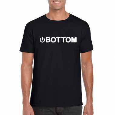 Goedkope homo shirt power bottom zwart heren