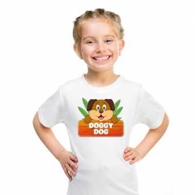 Goedkope honden dieren t shirt wit voor kinderen