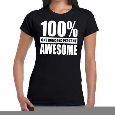 Goedkope honderd procent awesome t shirt zwart voor dames