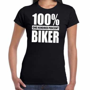 Goedkope honderd procent biker/ motorrijder t shirt zwart voor dames