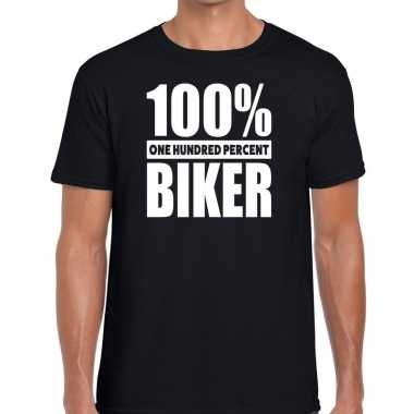 Goedkope honderd procent biker/ motorrijder t shirt zwart voor heren