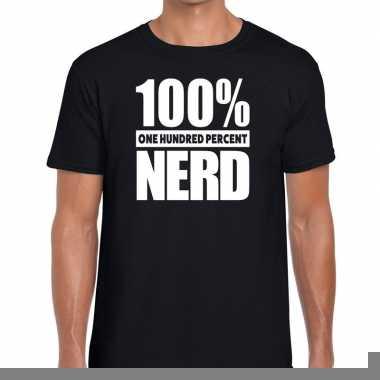 Goedkope honderd procent nerd t shirt zwart voor heren