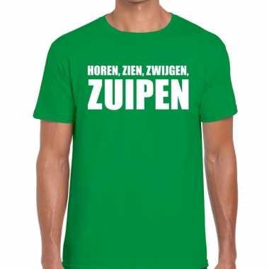 Goedkope horen zien zwijgen zuipen fun t shirt groen voor heren