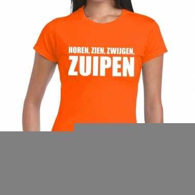 Goedkope horen zien zwijgen zuipen fun t shirt oranje voor dames