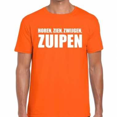 Goedkope horen zien zwijgen zuipen fun t shirt oranje voor heren