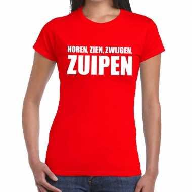 Goedkope horen zien zwijgen zuipen fun t shirt rood voor dames