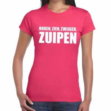 Goedkope horen zien zwijgen zuipen fun t shirt roze voor dames