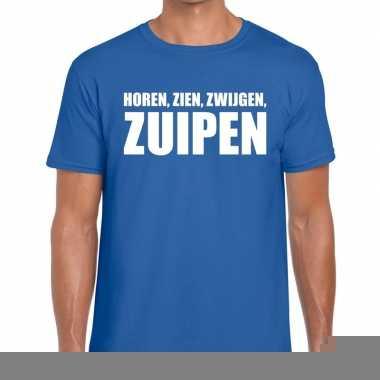 Goedkope horen zien zwijgen zuipen fun t shirt voor heren blauw
