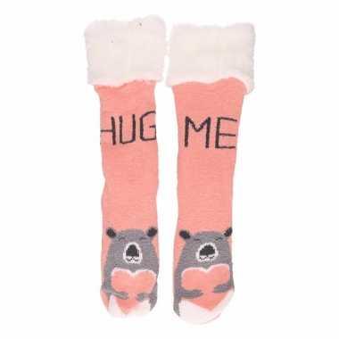 Goedkope huis/bank dames beren sokken roze