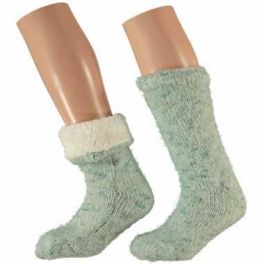 Goedkope huis/bank dames sokken mint groen