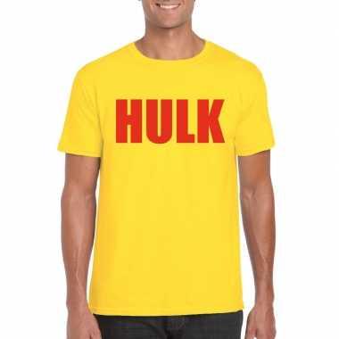Goedkope hulk worstelaar t shirt geel met rood voor mannen
