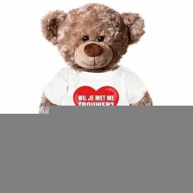 Goedkope huwelijksaanzoek knuffelbeer met t shirt 43 cm