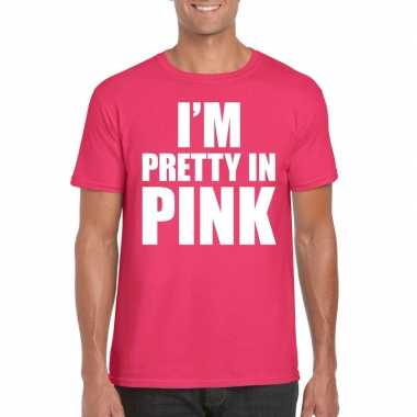 Goedkope i am pretty in pink toppers shirt roze heren