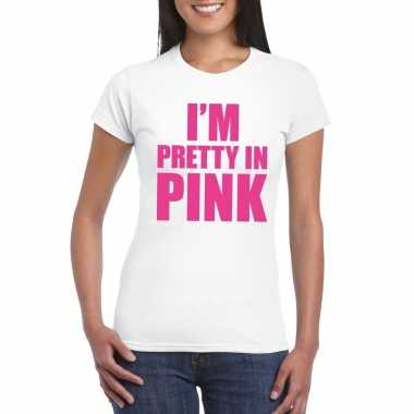 Goedkope i am pretty in pink toppers shirt wit dames