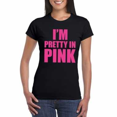 Goedkope i am pretty in pink toppers shirt zwart dames
