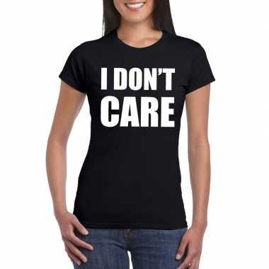 Goedkope i dont care fun t shirt zwart voor dames
