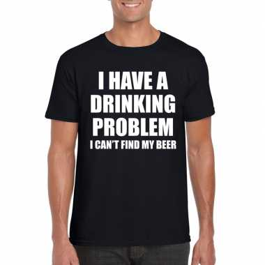 Goedkope i have a drinking problem fun t shirt zwart voor heren