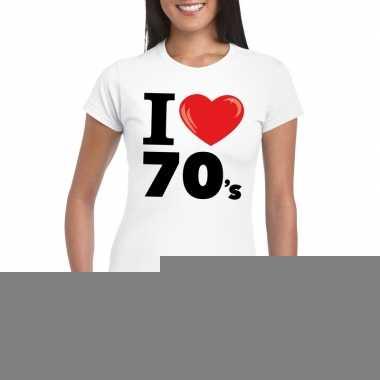Goedkope i love 70's t shirt wit dames
