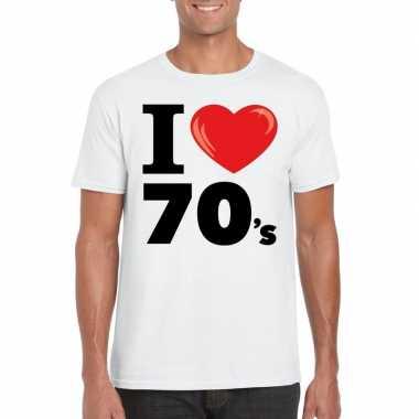 Goedkope i love 70's t shirt wit heren