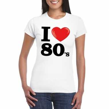 Goedkope i love 80's t shirt wit dames