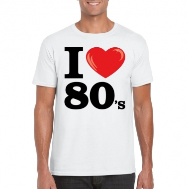 Goedkope i love 80's t shirt wit heren