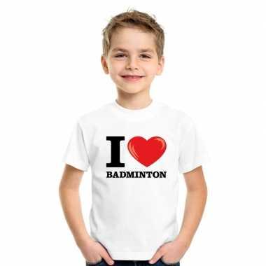Goedkope i love badminton t shirt wit jongens en meisjes