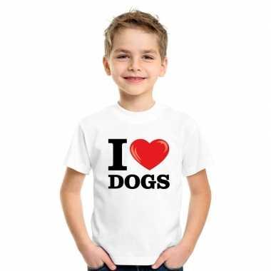 Goedkope i love dogs t shirt wit jongens en meisjes