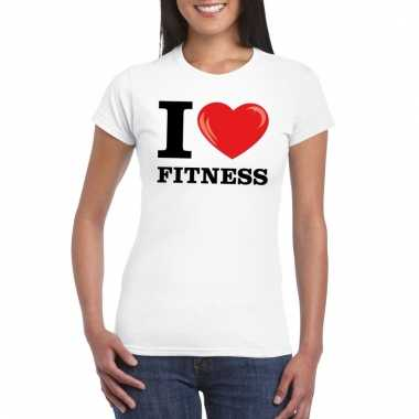 Goedkope i love fitness t shirt wit dames