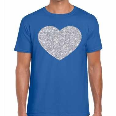 Goedkope i love fun t shirt blauw met zilveren bedrukking voor heren