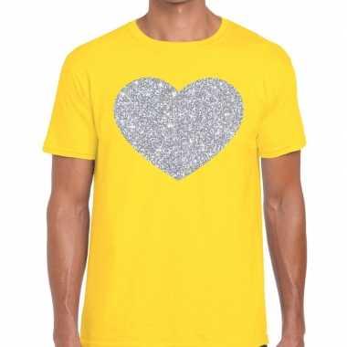 Goedkope i love fun t shirt geel met zilveren bedrukking voor heren