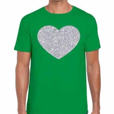 Goedkope i love fun t shirt groen met zilveren bedrukking voor heren