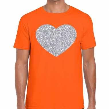 Goedkope i love fun t shirt oranje met zilveren bedrukking voor heren