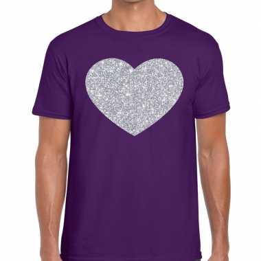 Goedkope i love fun t shirt paars met zilveren bedrukking voor heren