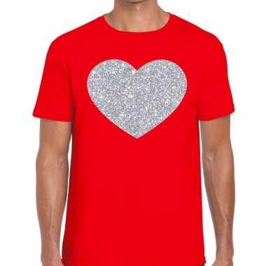 Goedkope i love fun t shirt rood met zilveren bedrukking voor heren