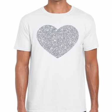 Goedkope i love fun t shirt wit met zilveren bedrukking voor heren