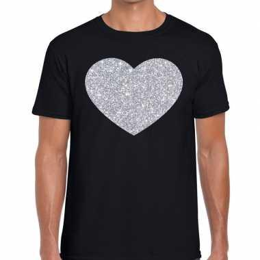 Goedkope i love fun t shirt zwart met zilveren bedrukking voor heren