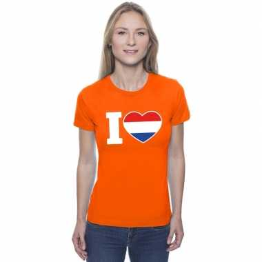 Goedkope i love holland shirt oranje dames