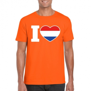 Goedkope i love holland shirt oranje heren