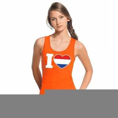 Goedkope i love holland topje/shirt oranje dames
