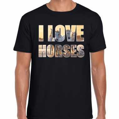 Goedkope i love horses / paarden dieren shirt zwart heren