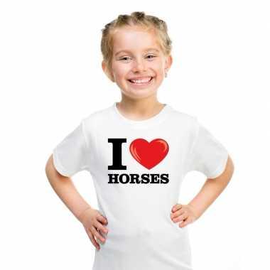 Goedkope i love horses t shirt wit jongens en meisjes