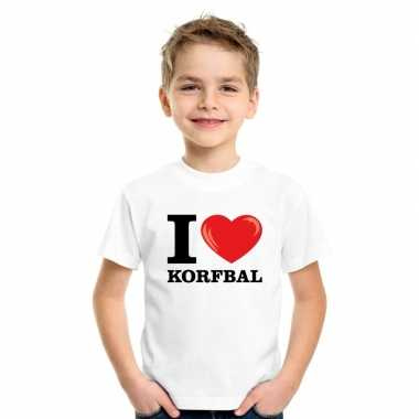 Goedkope i love korfbal t shirt wit jongens en meisjes
