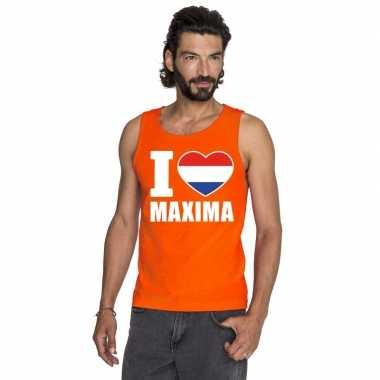 Goedkope i love maxima mouwloos shirt oranje heren