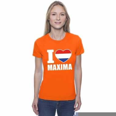 Goedkope i love maxima shirt oranje dames