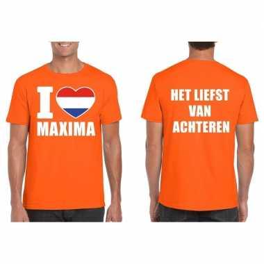 Goedkope i love maxima van achteren shirt oranje heren