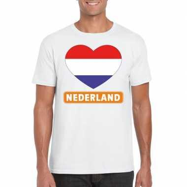 Goedkope i love nederland t shirt wit heren