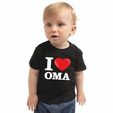 Goedkope i love oma kado shirt voor baby / kinderen zwart